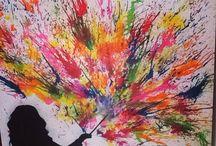 Cuadro con crayones