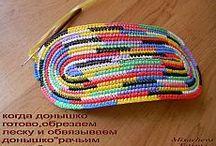 Вязанная сумка из пластиковых цветных пакетов