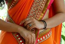 Plain saree lace work