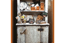 """Altered Halloween Cupboard / These are 1"""" scale kits."""