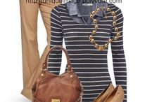 Outfits - brown, green and grey jeans etc.