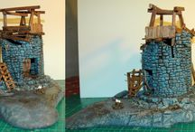 The Old Abandoned Tower / A small ruined tower with makeshift wooden structure on top. Ideal fro Mordheim, Frostgrave, Warmachine, Warmahorde or other skirmish games...