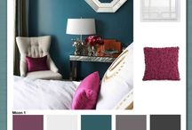 Magenta grey bedroom