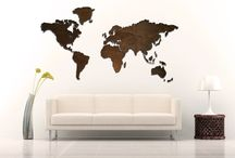 Wall art / Wooden world map