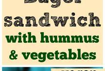 vegan sandwich, burger, bruschetta, toast, plněná bageta
