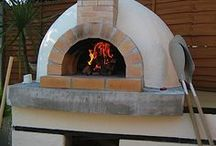 Pizza and clay or brick outdoor ovens