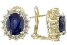 September Birthstone: Sapphire / Sapphire jewelry, including rings, earrings, pendants, bracelets and bangles.