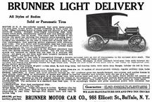 Brunner Motor Car Co. Ads / In November of 1909, the Brunner Motor Car Company, Buffalo, NY, was incorporated with a capital fund of $14,000 to make their Brunner models. The men behind the company were B. S. Morden, A. L. Dixon, and C. P. Miller. The car had a two-cylinder, 14-horsepower engine and had a shaft drive, planetary transmission on a 90-inch chassis. Even though, most advertisements featured their delivery wagon, a touring car was also offered. Its most distinguished feature was a muffler on each cylinder.