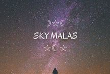 Sky Malas☽★☾ / Sky Malas, created in reflection of the path of the sun across the sky, a complete revolution of the moon around the earth, the 29.531 days between successive new moons.  Sky Malas compliment the belief that the wearing of particular stones when specific stars are at certain locations in the sky can have therapeutic and talismanic benefits...
