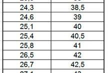 Taller / Tabla de medidas