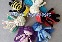 Insect Dolls Crochet Amigurumi Toys / Handmade dolls made by Nelly Handmade pattern  Crochet Bug dolls Amigurumi Toys, Crochet butterfly Sleepy Doll, Crochet Ladybird Sleepy Doll, Crochet Bee Sleepy Doll, Crochet Moth Doll, Crochet Dragonfly doll, Crochet grass bug doll