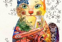 Chats d'Oxana Zaika / Née en Russie en 1969, je suis des cours de dessin dès l'age de deux ans. A sept ans je rentre à l'école des arts N°1 de Moscou. En 1993 je suis diplômée de l'institut des beaux-arts de Moscou.  Je pratique plusieurs techniques de peinture différentes et aime toutes les matières : à l'huile, acrylique, aquarelle et pastelle pour exprimer mon inspiration. J'ai exposé à Moscou, en Tunisie et actuellement en France . Source: http://oxana.livegalerie.com/presentation.php