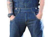 salopette homme / salopette mixte en jean , poche cargo