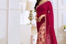 Georgette Saree StarWalk Vol. 20 / Designer Georgette Saree with Traditional Border and Blouse Piece