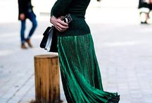 green pleated emerald skirt