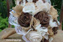 Burlap bouquets/flowers
