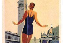 CARTOLINE illustrazioni anni 50