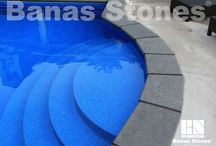 Banas Stones Pool Coping / Pool coping adds a distinctive and elegant feature to your pool while providing protection of your vinyl liner from the elements and to provide visual continuity from your pool decking to the outer wall of your pool. Banas Stones naturally textured coping offers a non-slip surface for the edges of your pool that will both provide peace of mind for safety and be an eye catching finishing touch to your outdoor design. Find it at our store at 3500 Mavis Rd, Mississauga, ON L5C 1T8