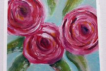Abstract Florals Workshop / Paintings created from Donna Downeys Abstract floral's workshop.