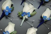 Blue button holes wedding