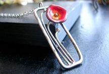 Silver enamel handmade jewelry