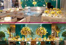 Casamento Azul Tiffany, amarelo e rosa
