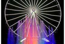 Fuente Estrella de Puebla  / Fuente a Piso Circular 60 verticales de 12 m de altura iluminada con LED RGB y 12 pulverizadores a 4.5 m de altura y un 1  vertical geiser central a 20 m de altura