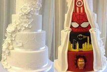Comic wedding / fantasy wedding with comic themes like spiderman, badman, and the avengers.