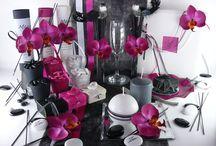 Ambiance noire orchidée / A l'instar des jardins japonais, retrouvez un mixe parfait d'éléments emblématiques empruntés aux tables asiatiques...
