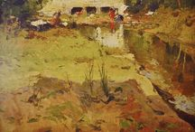 Lavanderas junto al río / Eliseo Meifrén Roig. Pinturas al óleo de lavandera en el río.