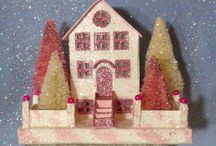 OOAK Vintage Style Glitter House, Pink and White.  So pretty!!