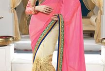 Partywear Sarees / Beautiful Sarees with embroidery on pallu and border length designed with patchwork
