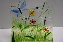 Glas_sommerfugl m. blomster