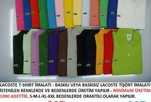 Lacoste T-shirt imalatı yapan firmalar / Lacoste T-shirt imalatı yapan firmalar LACOSTE T-SHIRT İMALATI - BASKILI VEYA BASKISIZ LACOSTE TİŞÖRT İMALATI İSTENİLEN RENKLERDE VE BEDENLERDE ÜRETİM YAPILIR - MİNİMUM ÜRETİM 1000 ADETTİR. S-M-L-XL-XXL BEDENLERDE ORANTILI OLARAK YAPILIR.     ADET FİYATI BASKISIZ 7.5 TL    -    FİRMA LOGONUZ BASKILI 8.5 TL  BURSA İMALAT - İLETİŞİM İÇİN : +90 545 783 14 12