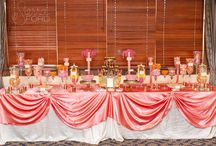 Coral and Yellow Candy Buffet / Coral and Yellow candy buffet for a wedding