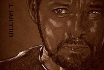 Star Trek TNG Portraits / Eight portraits of quickly and sketch style on a  rusty brown tones background.