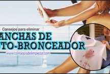 REMOVER MANCHAS DE AUTOBRONCEADOR / Consejos para deshacerse de las incómodas manchas de la loción auto-bronceadora de textiles, moquetas, de la piel, etc.