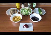 Healthy mackerel salad. Salată cu macrou. Салат с скумбрией. / Ingredients: mackerel-340g, iceberg lettuce-100g, 1/2 cucumber, 1/2 onion, olive-50g, sweet corn-140g, olive oil with basilic, lemon juice, salt and cream vinegar. Ingrediente: macrou-340g, salată iceberg-100g, 1/2 castravete, 1/2 ceapă roșie, măsline-50g, ulei de măsline cu busuioc, suc de lămâie, sare și oțet balsamic cremă. Ингредиенты: скумбрия-340г, зелёный салат-100г, половина огурца, половина лука, маслины-50г, кукуруза-140г, масло оливковое с базиликом, лимонный сок, соль с чили, бальзам