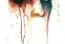 wattercolour face