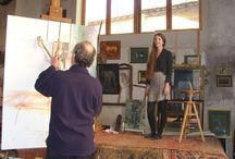 Artists at work. / Artist working in their studios or abroad.