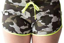 Pantaloncini sportivi donna shorts palestra fitness corti hot pants mimetico S6