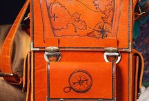 Men's handmade messenger bag, pyrographied Pirates №1 / A comfortable men's messenger bag in a noble cognac colour with designs from our Pirates collection: a pirate galleon on the attack, a map of Treasure Island and a compass which shows the way to the chest of gold.