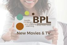 """New Movies & TV / Borrow and stream digital movies and television shows! For more information oh now to access them, see our Pinterest boards called """"BPL Digital Services"""" and """"Digital Services Apps."""" (If a pin links to the SWAN catalog, it's physical item that circulates from the library building; or if it's a link to Hoopla or Media on Demand, find the apps on the board above.)"""