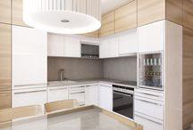 Návrh rekonstrukce bytu v panelovém domě - Brno / V malém bytě 1+1 bylo potřeba vytvořit dostatek úložných prostor čehož jsme dosáhli využitím celé světlé výšky bytu.