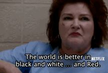 OITNB: the world's a better place in black and white... and RED / I don't really care who Piper ends up with as long as they keep gorgeous Stella Carlin on the show <3