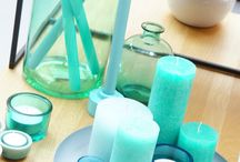 Turquoise woon accessoires