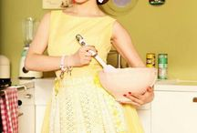 Retro Domestic Goddess / Inspirations for the retro 'domestic goddess' style makeup and hair for my blog post: http://lacenruffles.com/2014/06/20/how-to-be-a-domestic-goddess-apron-babe-giveaway/