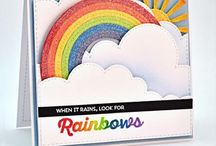 Rainbow sky clouds handmade cards / handmade greeting cards with sky, rainbows, clouds, sunsets, rain, hot air balloons, anything up in the air