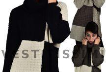 Maglione donna pullover lungo maxi maglia maniche lunghe collo alto morbido M10