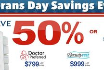 Veterans Day Savings Event / Veteran's Day Special Save 50% Off Dr. Preferred & Beautyrest Pay No Sales Tax or 3 Years Free Financing Save up to $500 on Stearns & Foster Save up to $300 on Tempurpedic+ Receive up to $300 visa gift card with (Mat + Adj Base) Free Delivery for Veterans